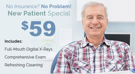 Elderly man in plaid shirt next to special advertisement