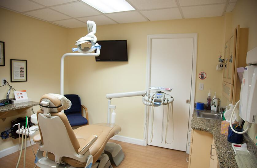 Modern dental chair and exam room