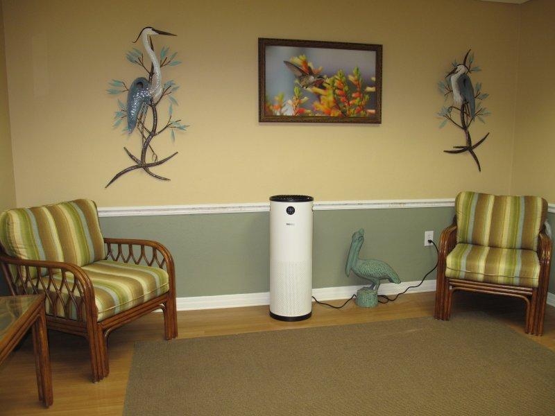 an air purifier in the lobby of a dental office